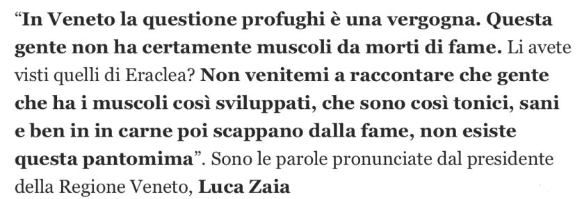 Luca Zaia sui migranti